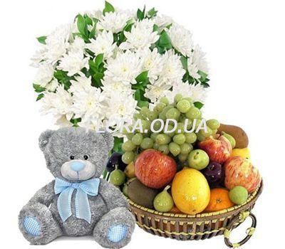 """""""Букет, мишка, фрукты"""" в интернет-магазине цветов flora.od.ua"""
