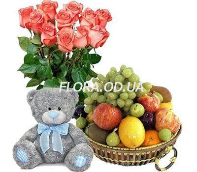 """""""Букет роз, мишка, фрукты"""" в интернет-магазине цветов flora.od.ua"""