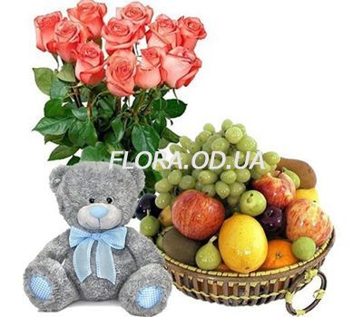 """Bouquet of roses, teddy bear, fruit"" in the online flower shop flora.od.ua"