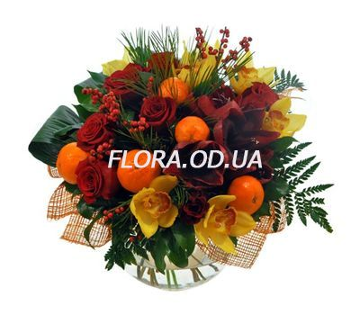 """""""Bouquet with tangerines for New Year"""" in the online flower shop flora.od.ua"""