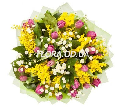 """Bouquet with mimosa and tulips"" in the online flower shop flora.od.ua"