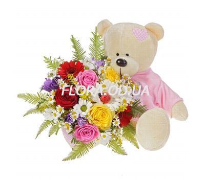 """Bouquet with a bear"" in the online flower shop flora.od.ua"