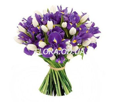 """""""Wonderful bouquet of irises and tulips"""" in the online flower shop flora.od.ua"""