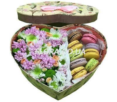 """""""Flowers with Macarons in a box heart"""" in the online flower shop flora.od.ua"""