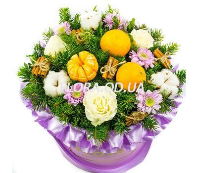 """Flowers with tangerines for Christmas"" in the online flower shop flora.od.ua"