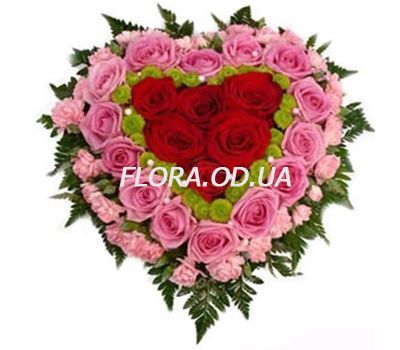 """Composition of flowers heart"" in the online flower shop flora.od.ua"