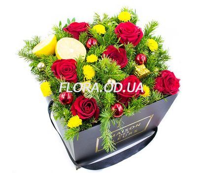"""Composition in a square box for the New Year"" in the online flower shop flora.od.ua"