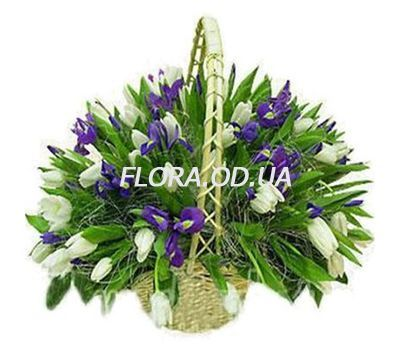 """Basket of 71 tulips and irises"" in the online flower shop flora.od.ua"