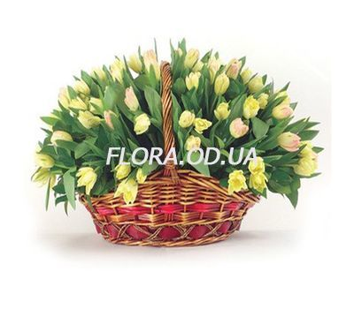 """Basket of 85 tulips"" in the online flower shop flora.od.ua"