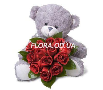 """""""Ведмідь з трояндами"""" в интернет-магазине цветов flora.od.ua"""