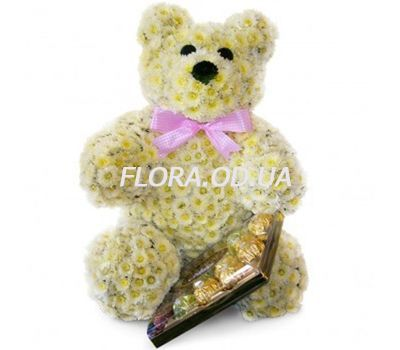 """Bear made of flowers with sweets"" in the online flower shop flora.od.ua"