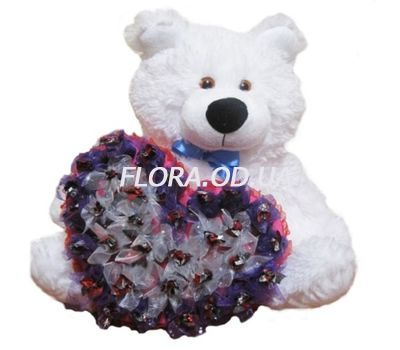 """Bear with a bouquet of chocolates"" in the online flower shop flora.od.ua"