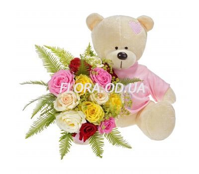 """Teddy bear with flowers"" in the online flower shop flora.od.ua"