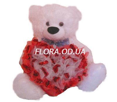 """Bear with a heart of sweets"" in the online flower shop flora.od.ua"