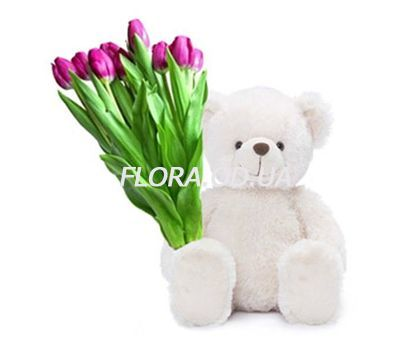 """Bear with tulips"" in the online flower shop flora.od.ua"