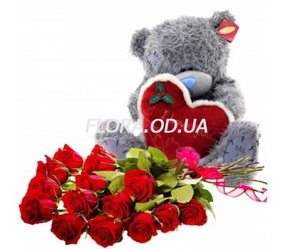 """Soft toy with flowers"" in the online flower shop flora.od.ua"