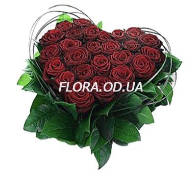 """Heart of 25 red roses"" in the online flower shop flora.od.ua"