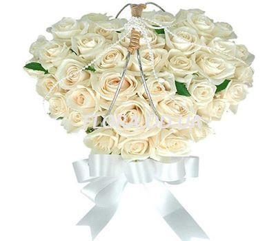 """Heart of 37 white roses"" in the online flower shop flora.od.ua"