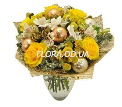 """""""Яркий новогодний букет цветов"""" в интернет-магазине цветов flora.od.ua"""