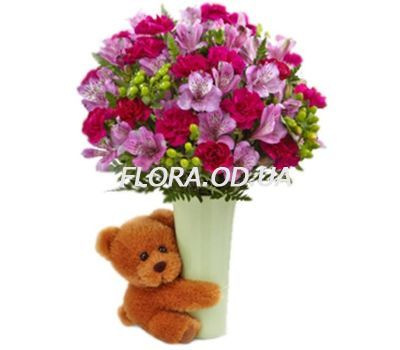 """""""Bouquet of alstroemerias with a bear"""" in the online flower shop flora.od.ua"""