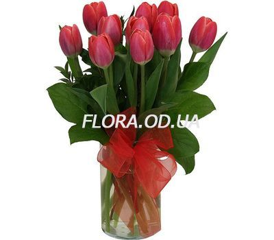 """Bouquet of 11 red tulips"" in the online flower shop flora.od.ua"