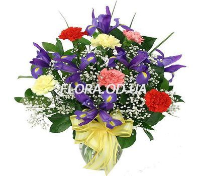 """""""Bouquet of irises and carnations"""" in the online flower shop flora.od.ua"""