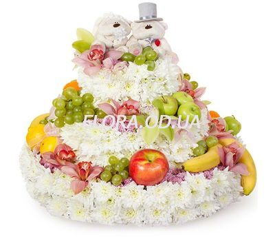 """Cake of flowers and fruits"" in the online flower shop flora.od.ua"